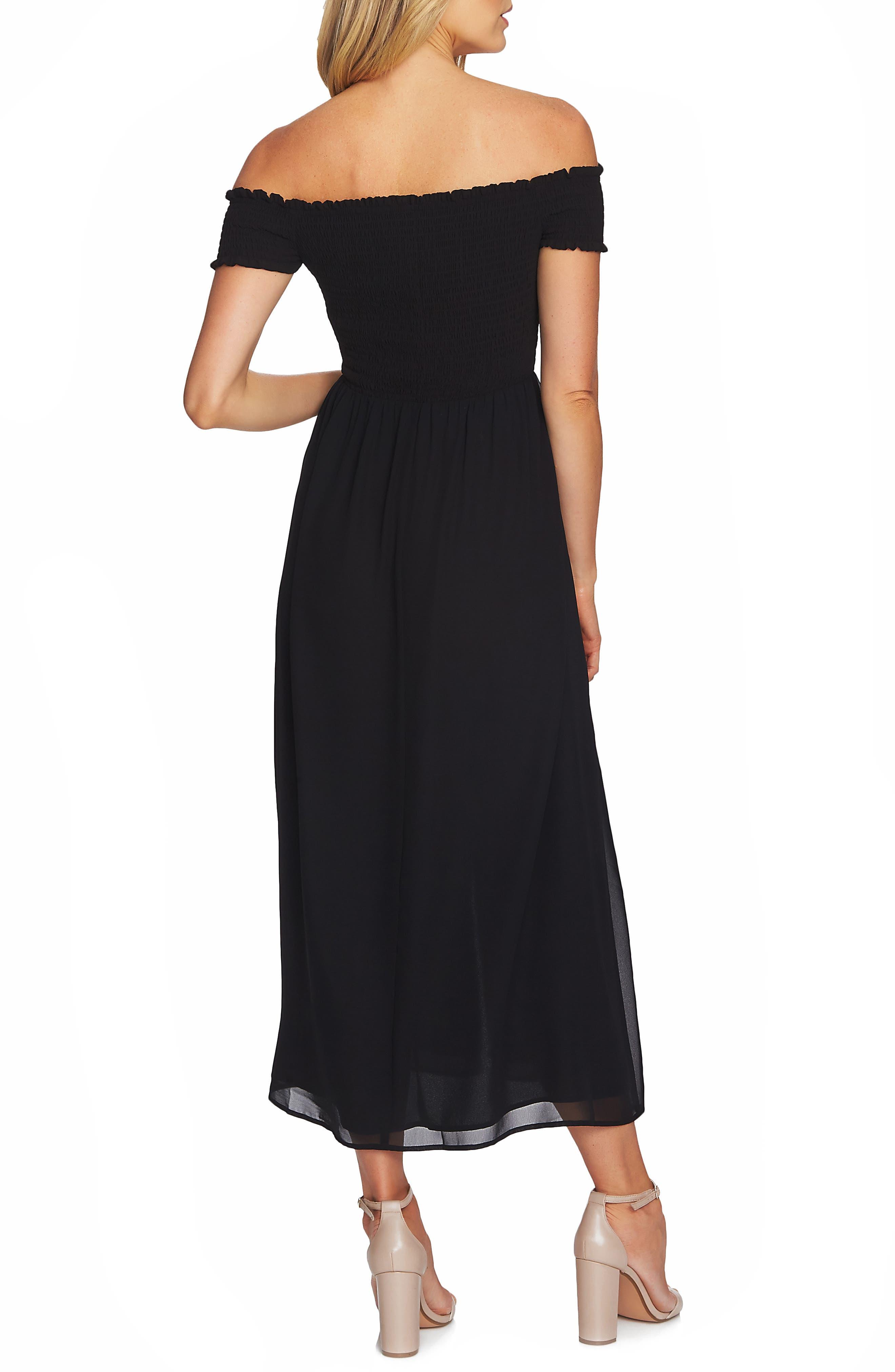 ,                             Off the Shoulder Smock Detail Maxi Dress,                             Alternate thumbnail 2, color,                             001