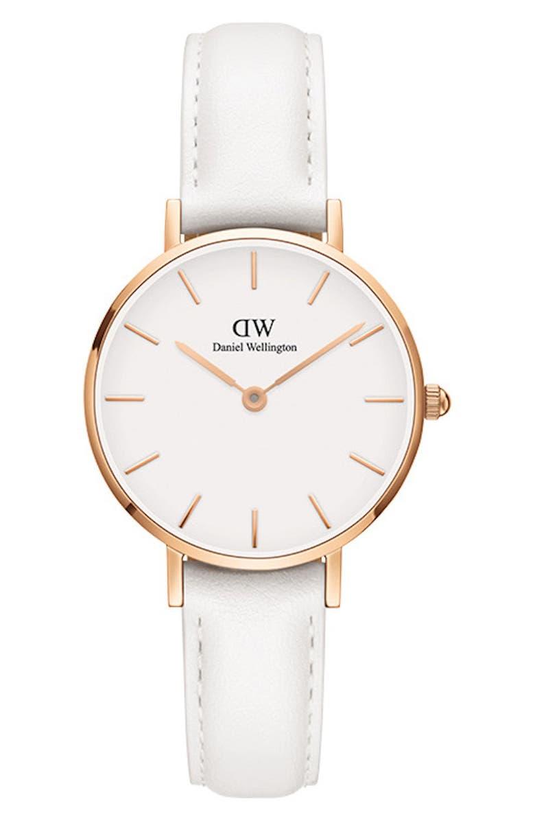 DANIEL WELLINGTON Classic Petite Bondi Leather Strap Watch, 28mm, Main, color, WHITE/ ROSE GOLD
