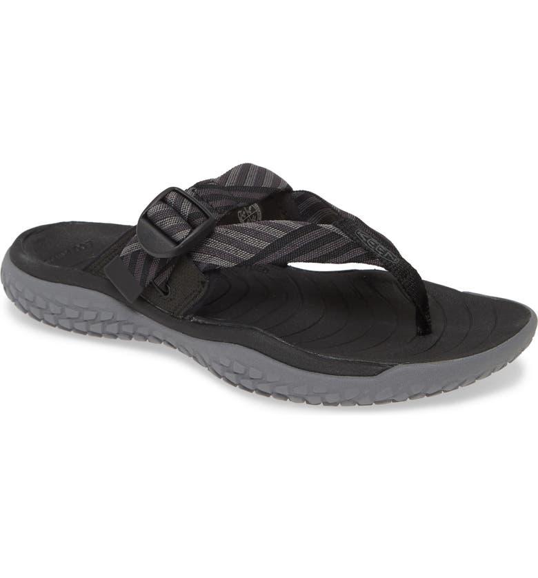 KEEN Solar Toe Flip Flop, Main, color, BLACK/ STEEL GREY FABRIC