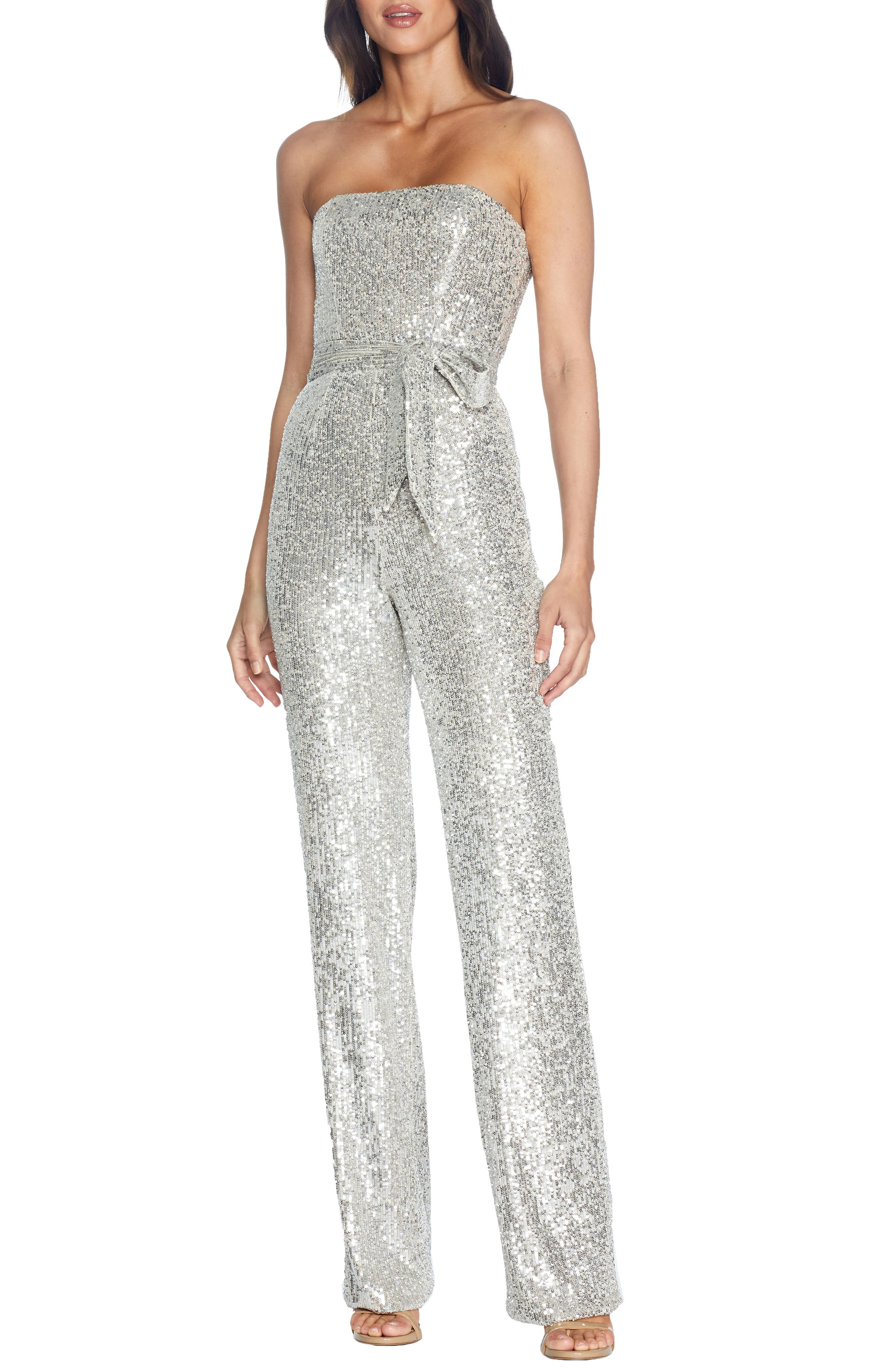 70s Jumpsuit | Disco Jumpsuits, Sequin Rompers Womens Dress The Population Andy Sequin Strapless Jumpsuit Size XX-Large - Metallic $196.80 AT vintagedancer.com