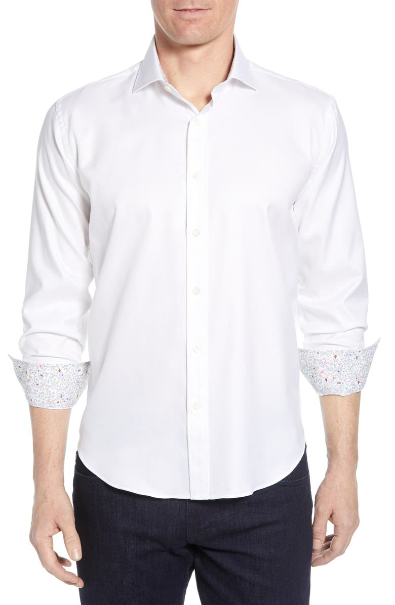 BUGATCHI Shaped Fit Floral Cuff Performance Shirt, Main, color, 100