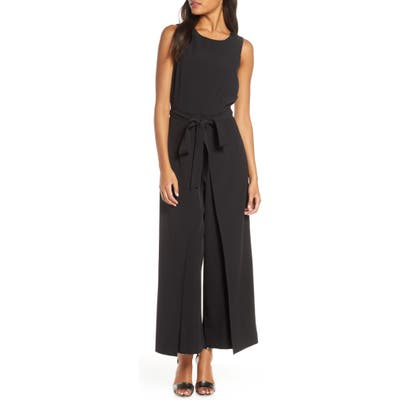 Julia Jordan Tie Waist Wide Leg Jumpsuit, Black