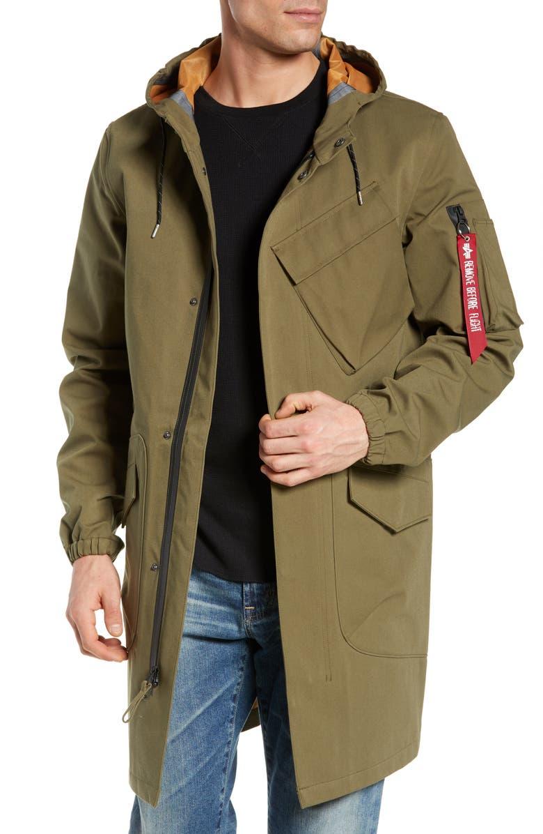 ALPHA INDUSTRIES Duster Waterproof Field Coat, Main, color, 313