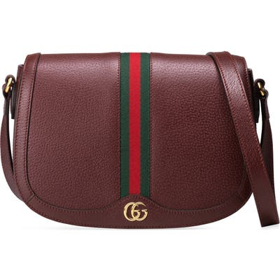 Gucci Small Ophidia Leather Shoulder Bag - Burgundy