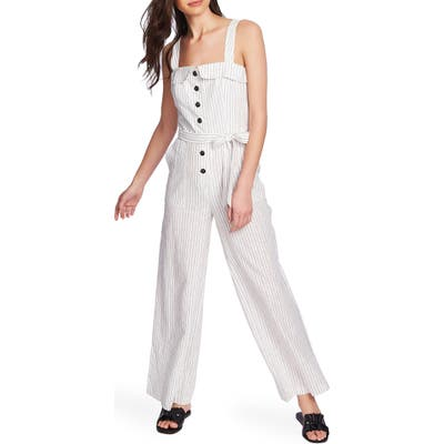 1.state Button Front Canopy Stripe Jumpsuit, Black