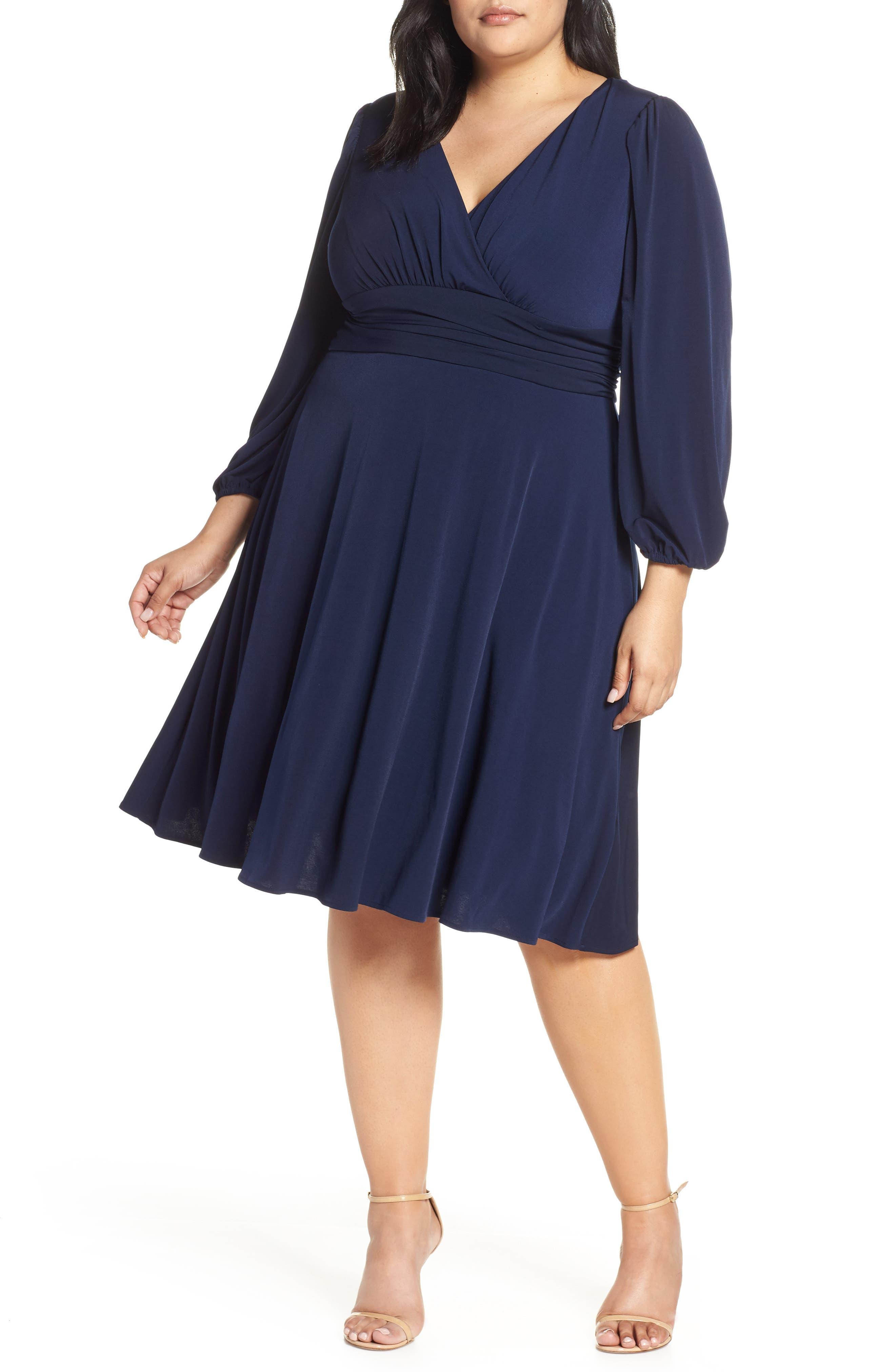 Plus Size Eliza J V-Neck Fit & Flare Dress, Blue