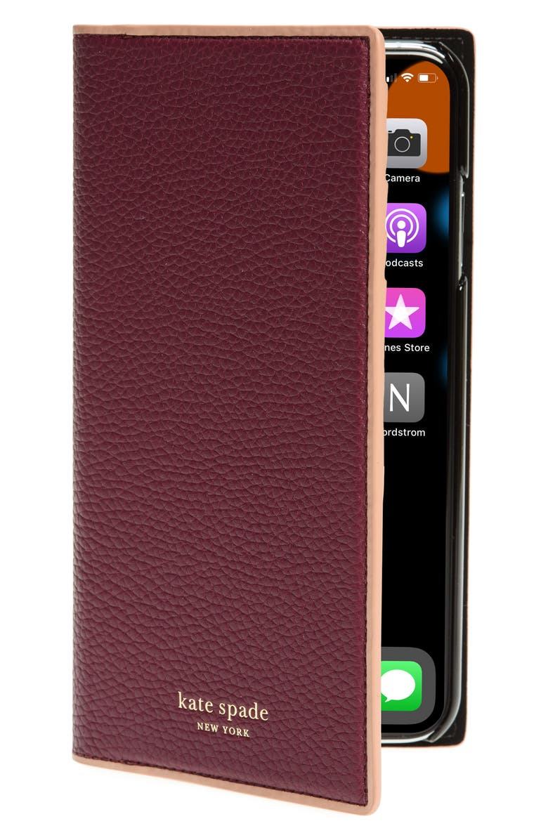 KATE SPADE NEW YORK sam iPhone X/Xs, Xs Max & XR folio, Main, color, SANGRIA