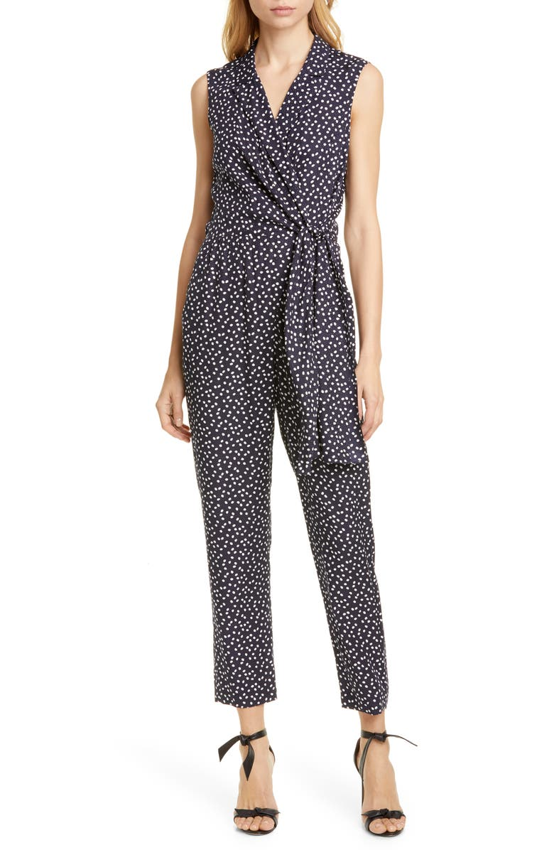 Tailored By Rebecca Taylor Pearl Dot Sleeveless Silk Blend Jumpsuit