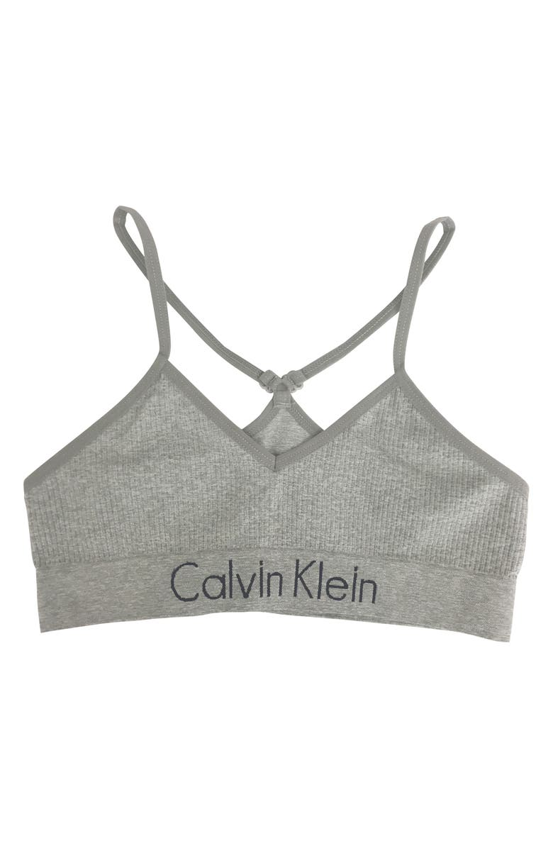 CALVIN KLEIN Seamless Ribbed Racerback Bralette, Main, color, 020