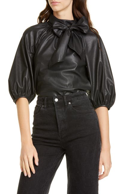 Image of Rebecca Taylor Short Sleeve Faux Leather Top