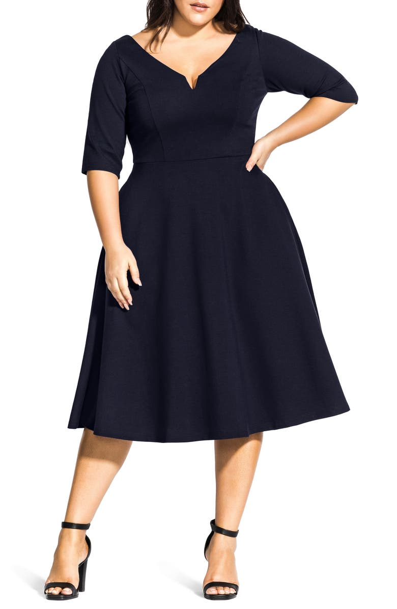 CITY CHIC Cute Girl Dress, Main, color, NAVY