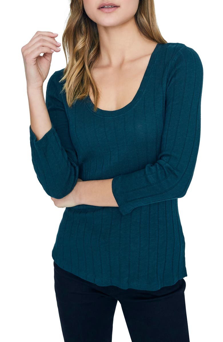 SANCTUARY Ruby Ribbed Long Sleeve Cotton Blend Tee, Main, color, JADE