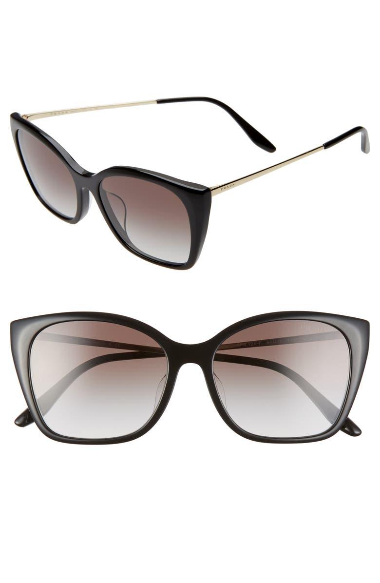 PRADA 54mm Gradient Cat Eye Sunglasses, Main, color, BLACK/ GREY GRADIENT