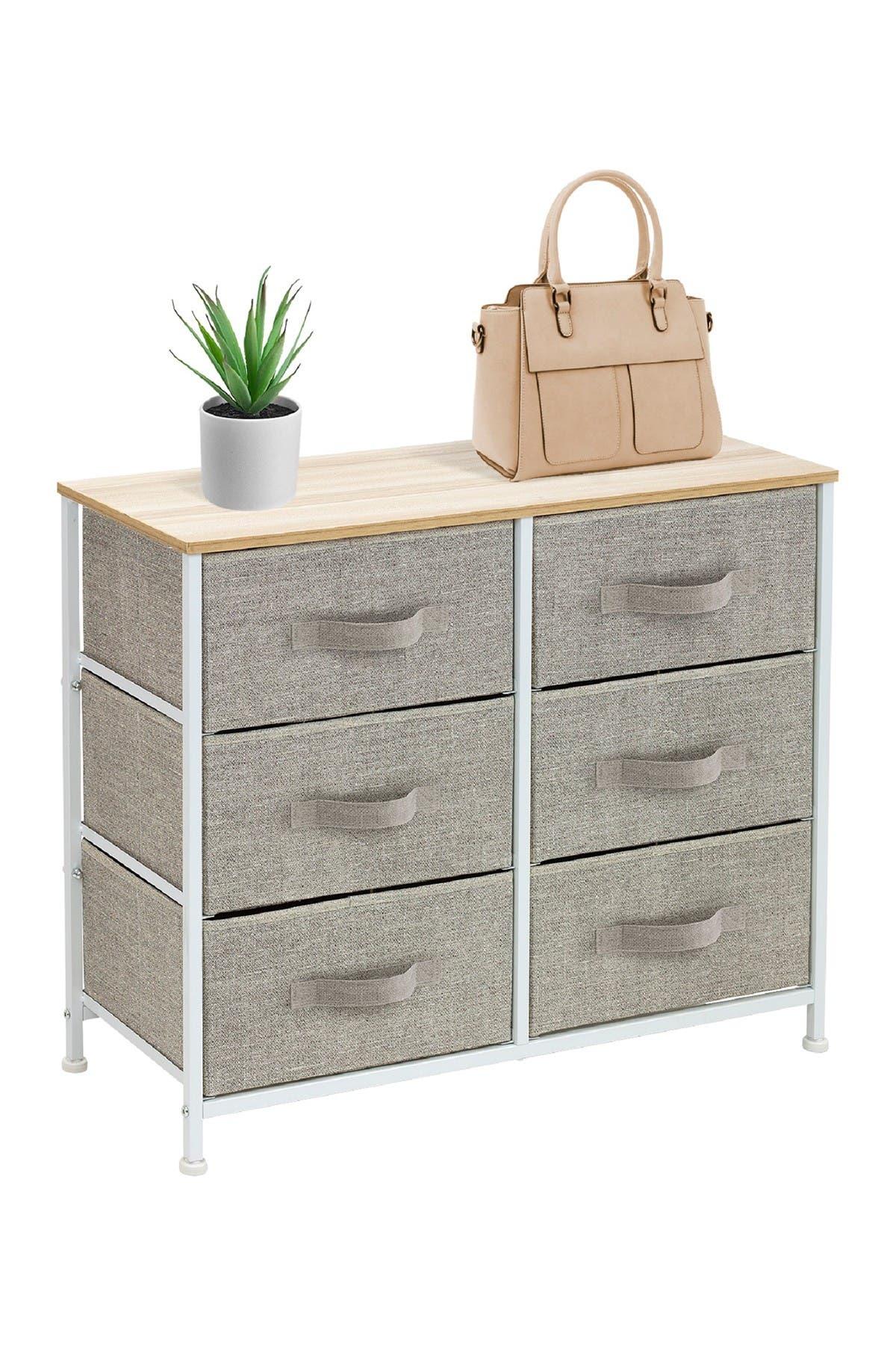 Image of Sorbus Beige Extra Wide 6-Drawer Organizer
