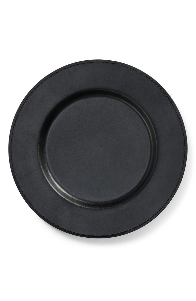 RALPH LAUREN Wyatt Leather Charger, Main, color, BLACK