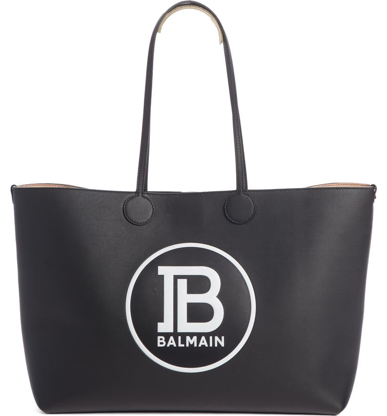 BALMAIN Medium Logo Leather Shopping Bag Tote, Main, color, NOIR/ BLANC