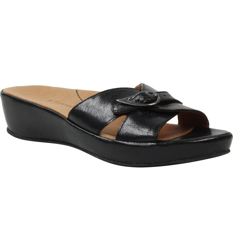 L'AMOUR DES PIEDS Cheyne Slide Sandal, Main, color, BLACK LEATHER