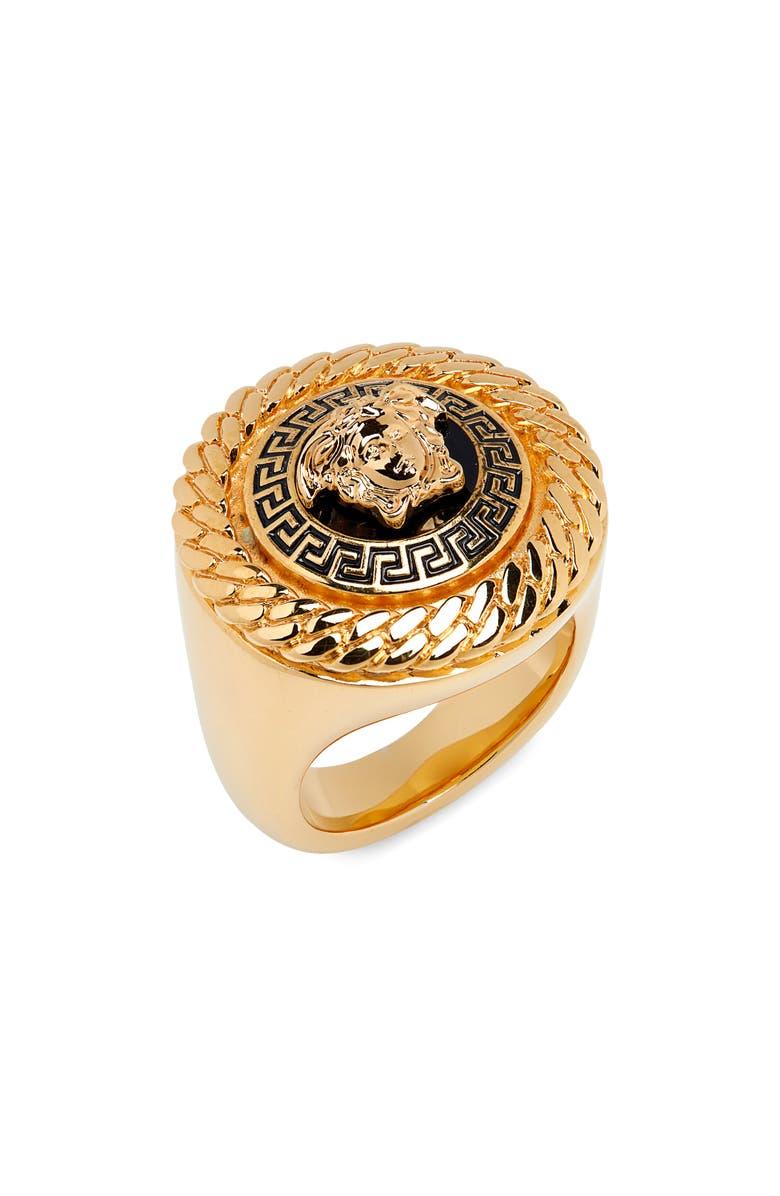 VERSACE Metallo Men's Ring, Main, color, 760