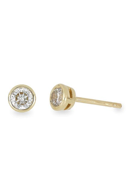 Image of Bony Levy 14K Yellow Gold Bezel Set Diamond Stud Earrings - 0.50 ctw