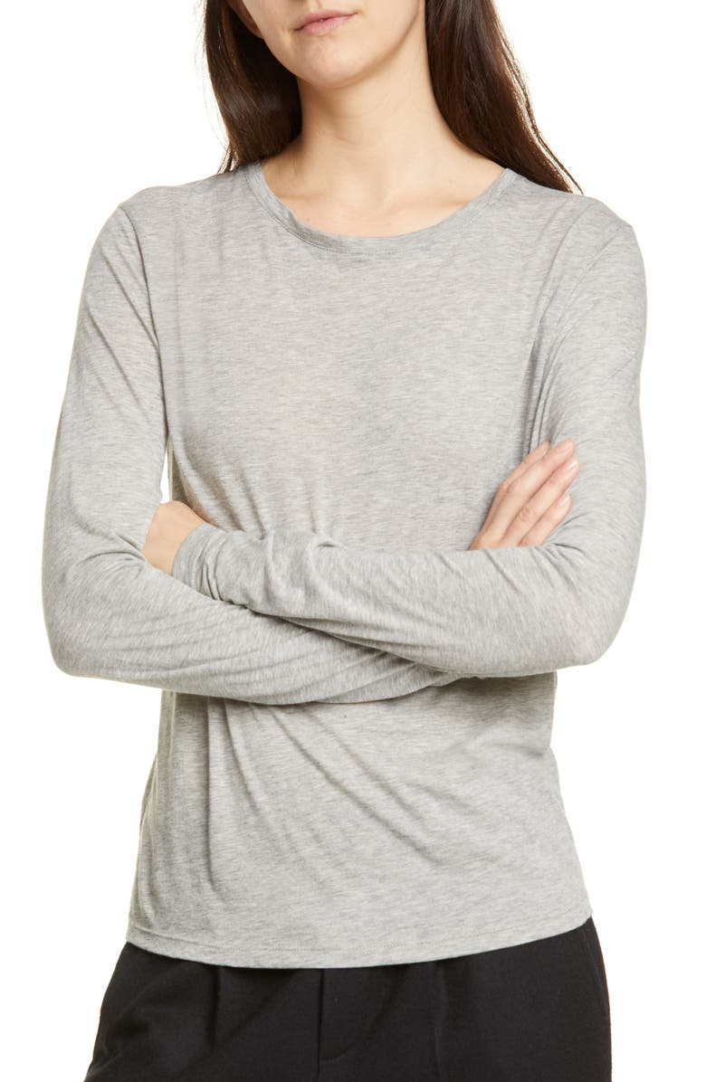 VINCE Essential Long Sleeve Crewneck Tee, Main, color, HEATHER GREY