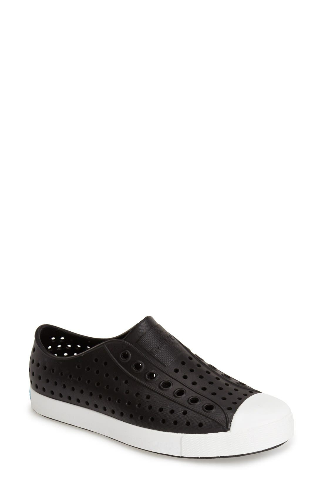 Jefferson Vegan Perforated Sneaker, Main, color, BLACK/ WHITE