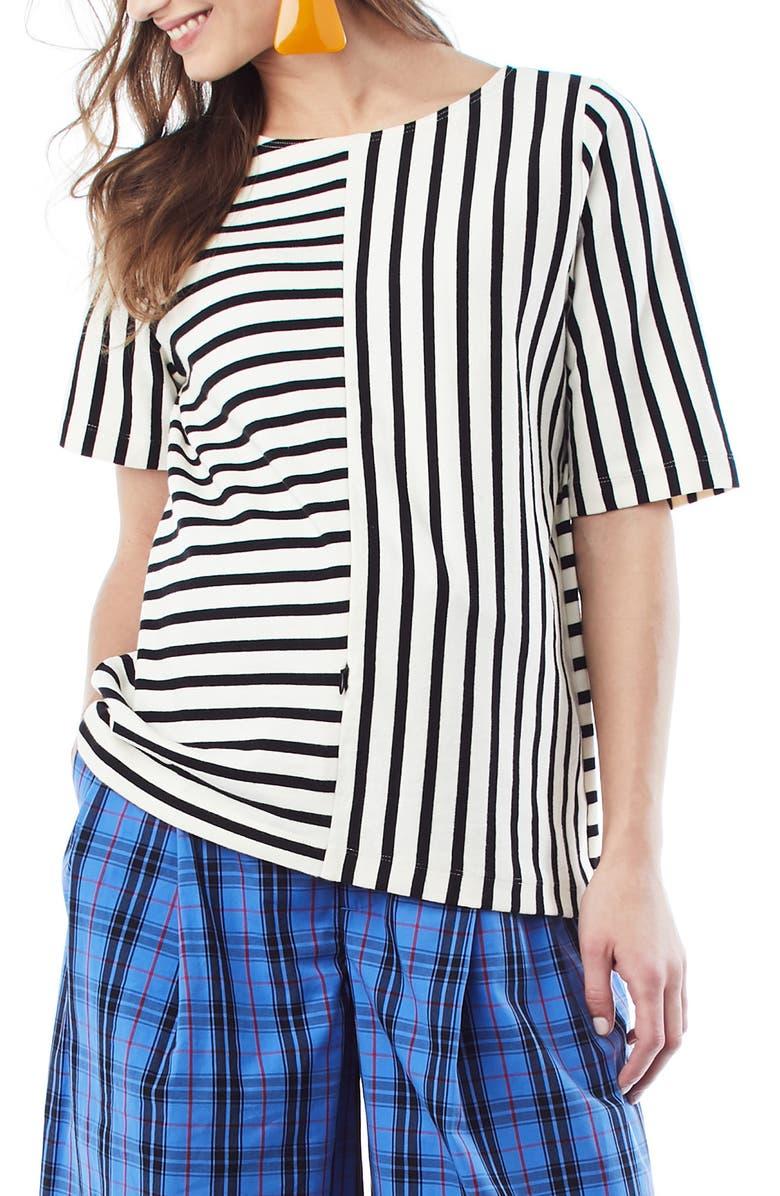 LOYAL HANA Ginger Stripe Maternity/Nursing Shirt, Main, color, CREAM W/ BLACK STRIPE