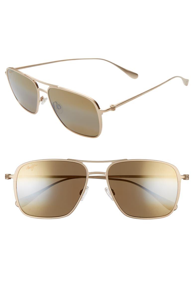 MAUI JIM Beaches PolarizedPlus<sup>®</sup>2 57mm Navigator Sunglasses, Main, color, SATIN GOLD/ BRONZE