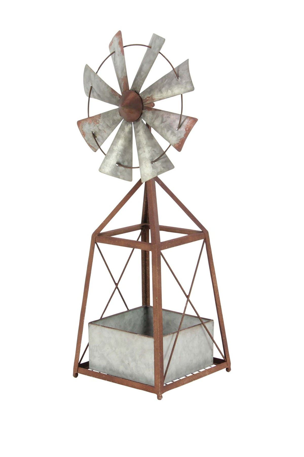 Image of Willow Row Brown Farmhouse Windmill Planter