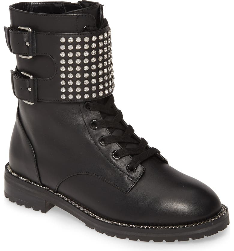 KURT GEIGER LONDON Seth Crystal Strap Combat Boot, Main, color, BLACK LEATHER