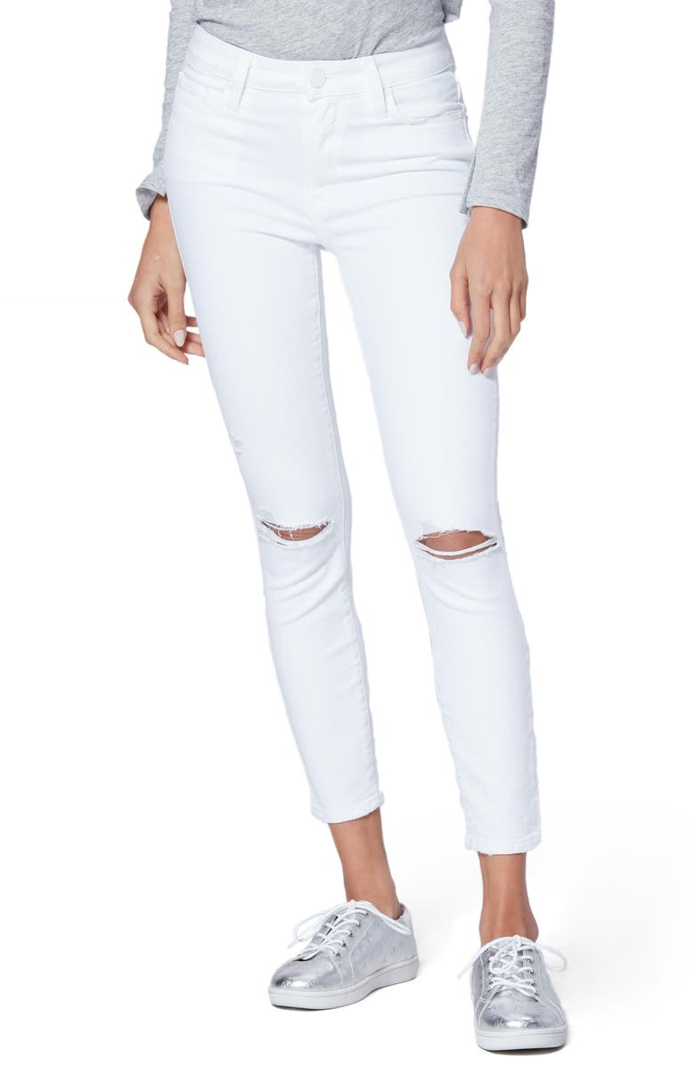PAIGE Hoxton Ripped High Waist Crop Slim Jeans, Main, color, 100