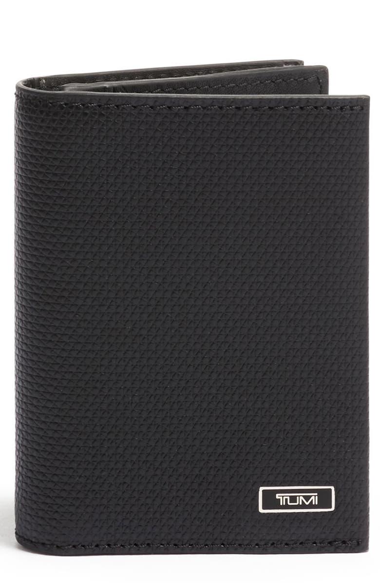 TUMI Monaco Leather Card Case, Main, color, BLACK