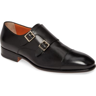 Santoni Innocent Double Monk Strap Shoe, Black