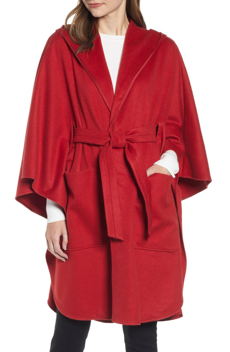 MAX MARA Belted Cashmere Poncho, Main, color, RED