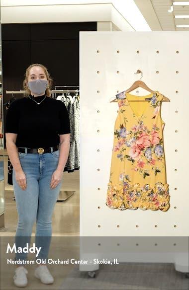 Floral Ruffle Hem Sleeveless Scuba Sheath Dress, sales video thumbnail