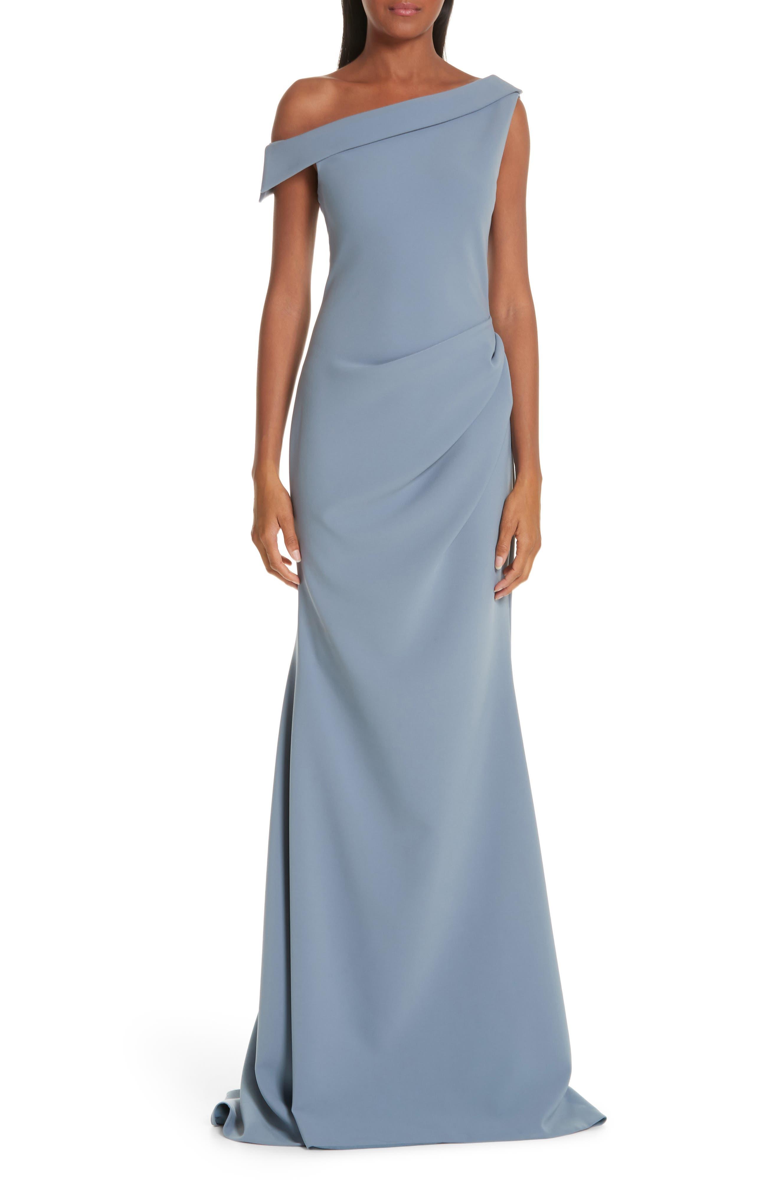 Christian Siriano One-Shoulder Evening Dress, (fits like 8) - Blue