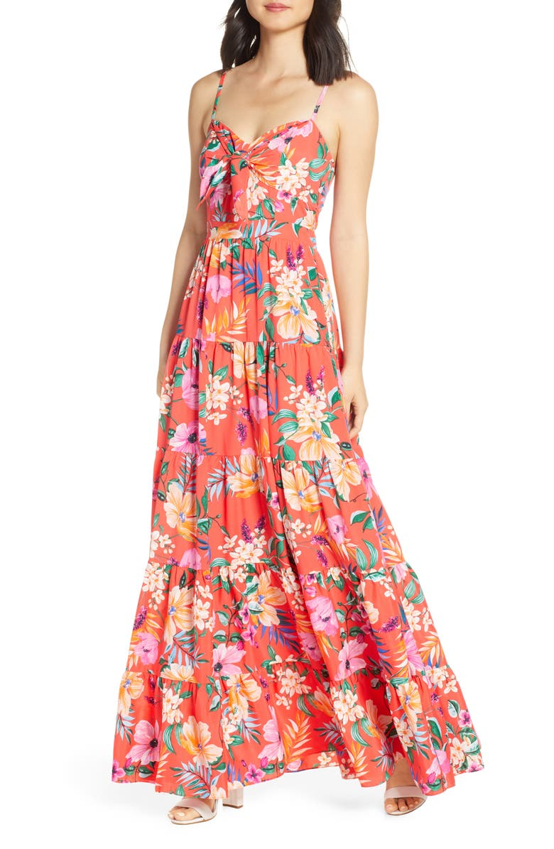 ELIZA J Floral Tie Front Tiered Maxi Sundress, Main, color, ORANGE