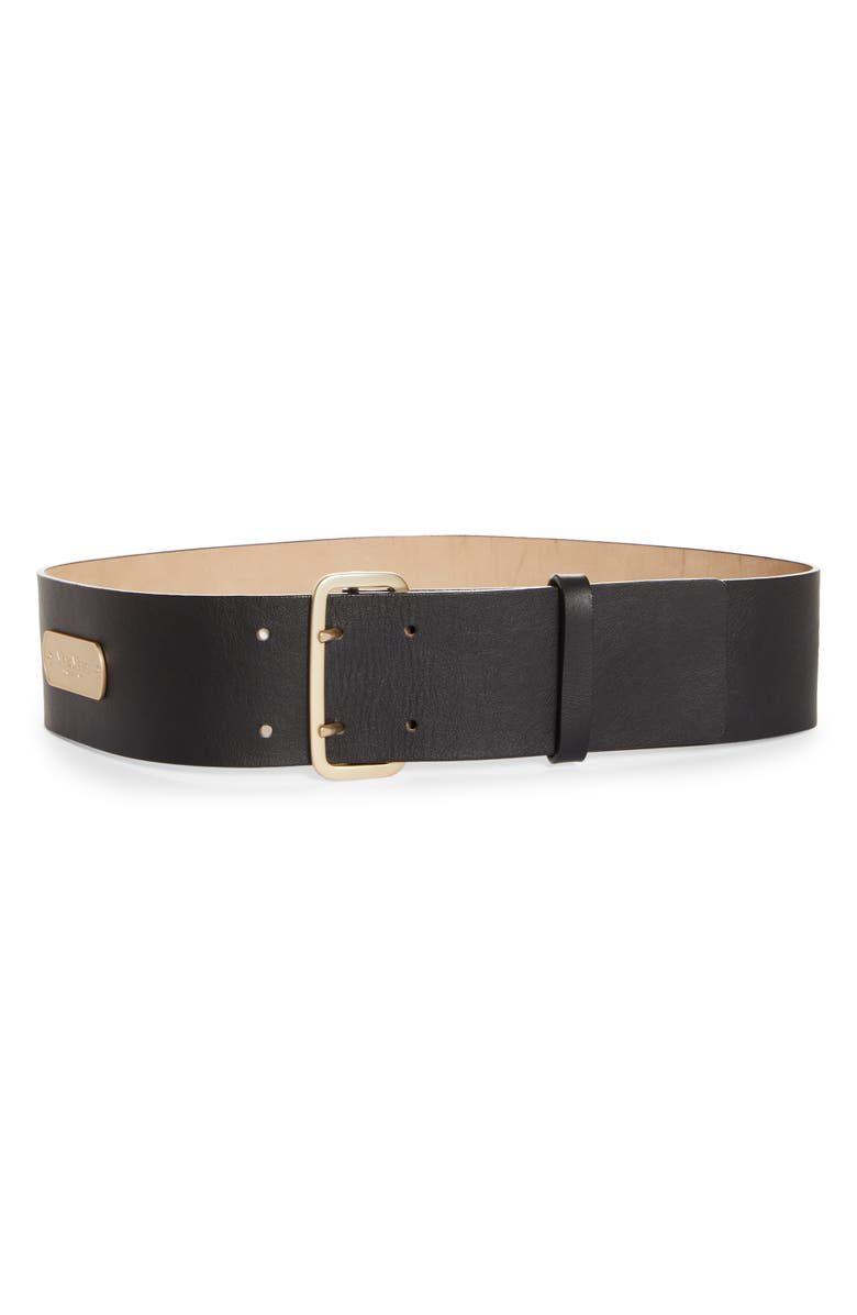 MAX MARA Double Prong Leather Belt, Main, color, BLACK