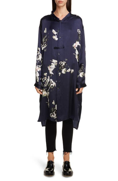 Y's Dresses FLORAL LONG SLEEVE SHIRT DRESS