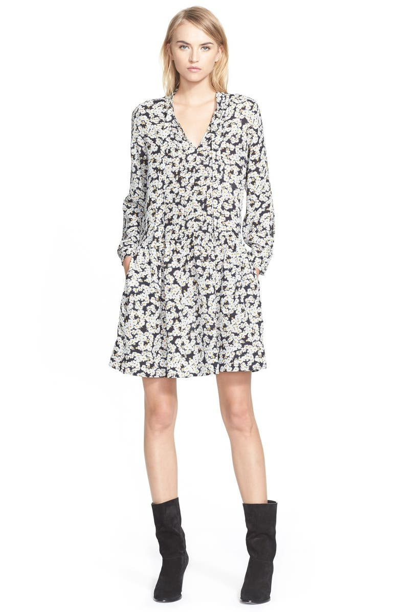 SEA Tie Neck Daisy Print Silk Dress, Main, color, 180