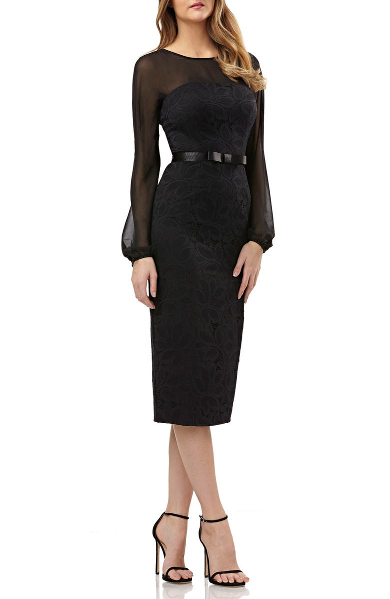 KAY UNGER Chiffon & Lace Sheath Dress, Main, color, 001