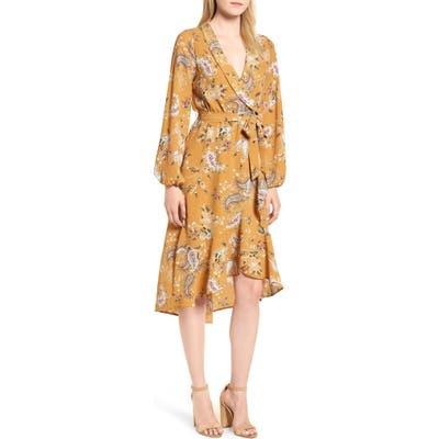 Petite Bobeau Faux Wrap Dress, Yellow