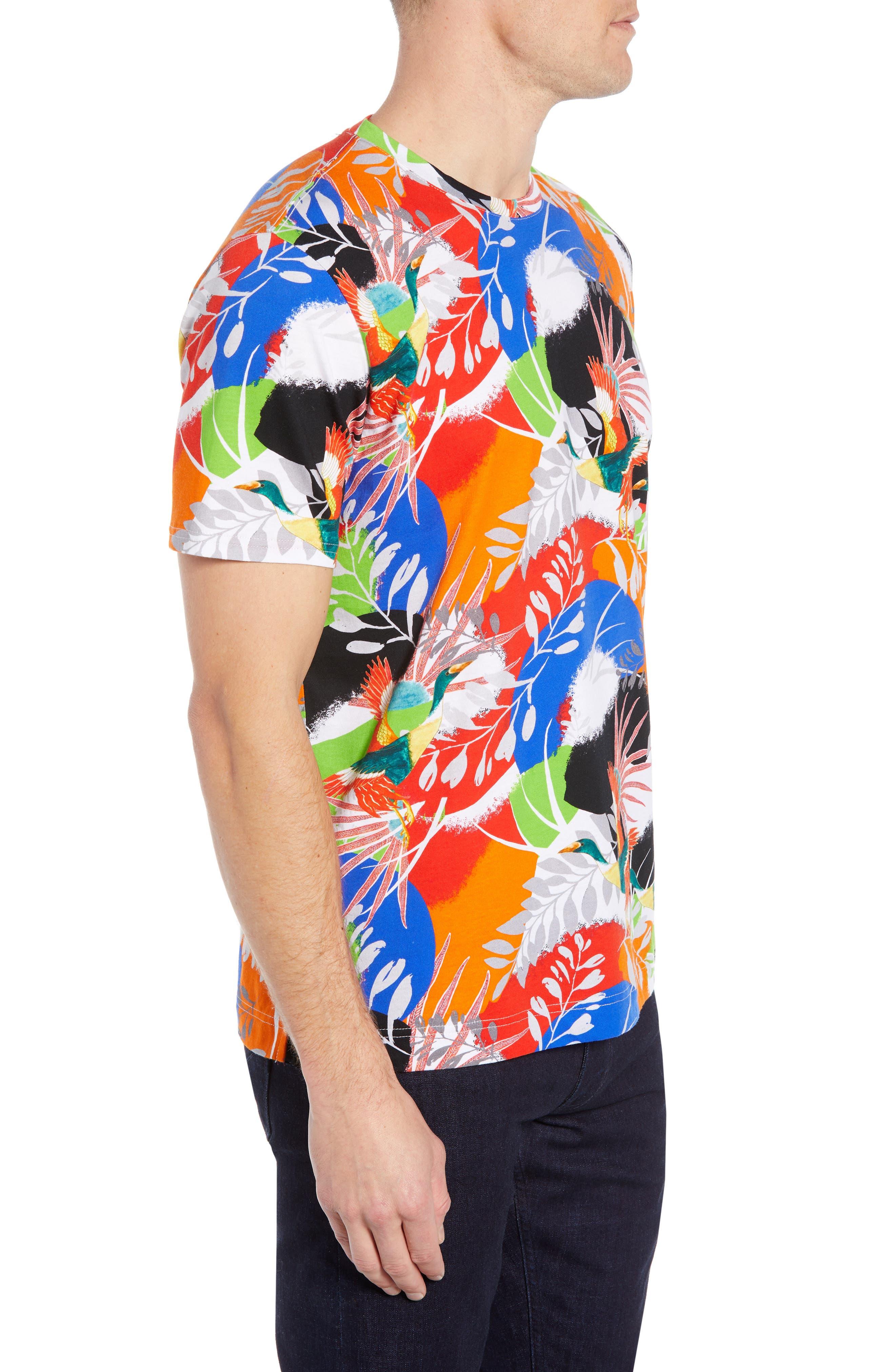,                             Flying Crane Tailored Fit T-Shirt,                             Alternate thumbnail 3, color,                             MULTI BLUE