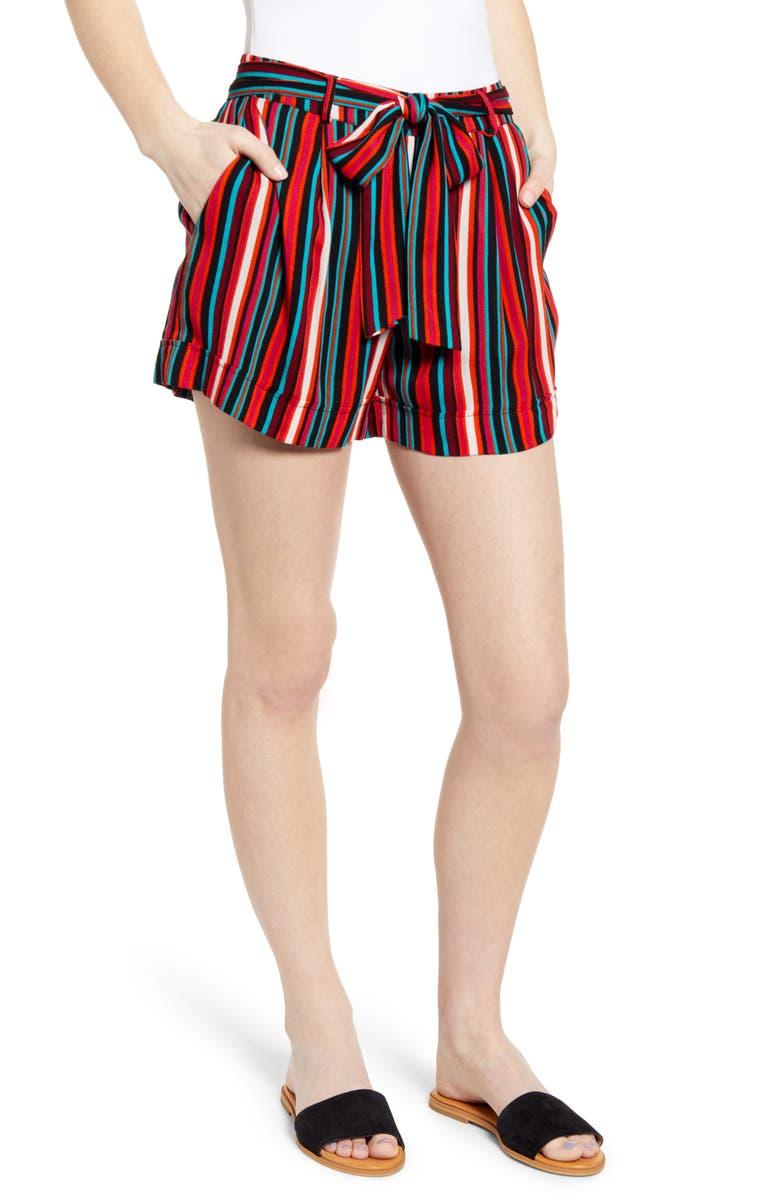 NOISY MAY Melissa Stripe Shorts, Main, color, RED STRIPE