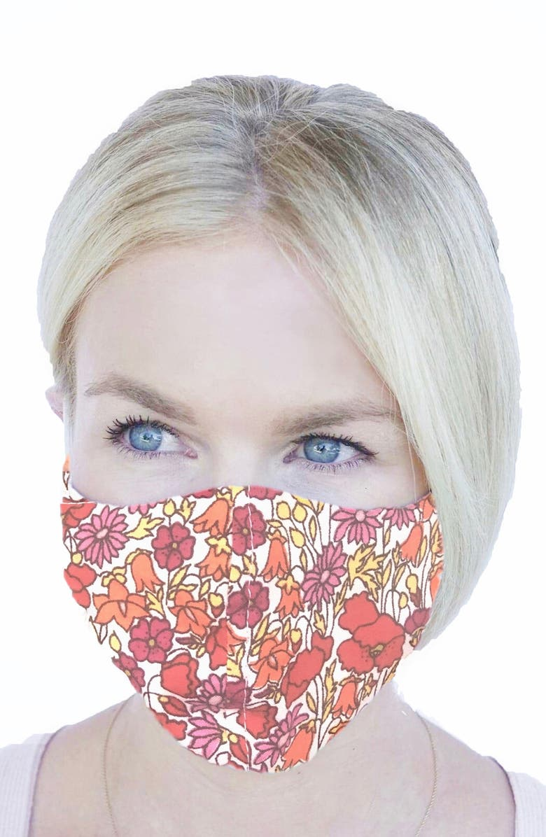 RUBY GREY Adult Cotton Face Mask, Main, color, RED MULTI