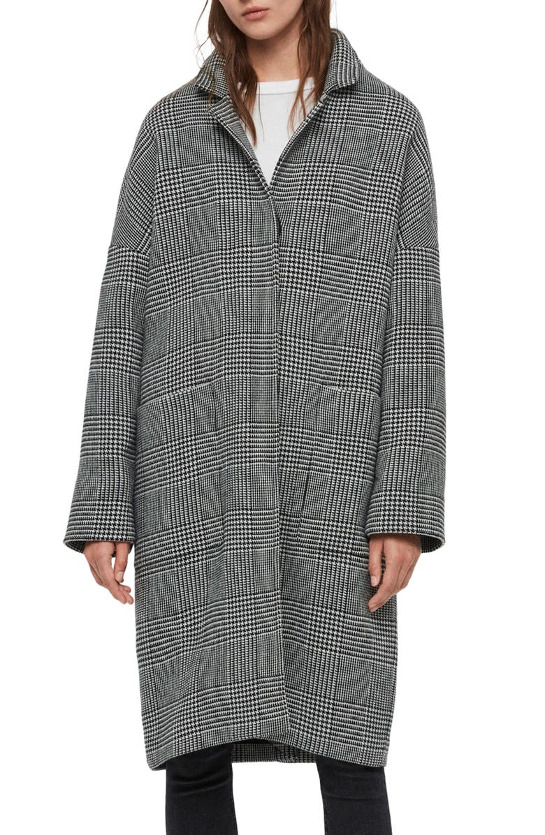 ALLSAINTS Teya Check Coat, Main, color, BLACK/ WHITE