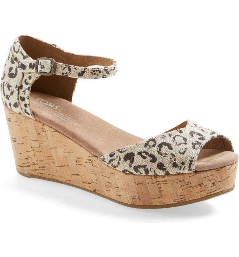 TOMS Leopard Print Platform Wedge, Main, color, 250
