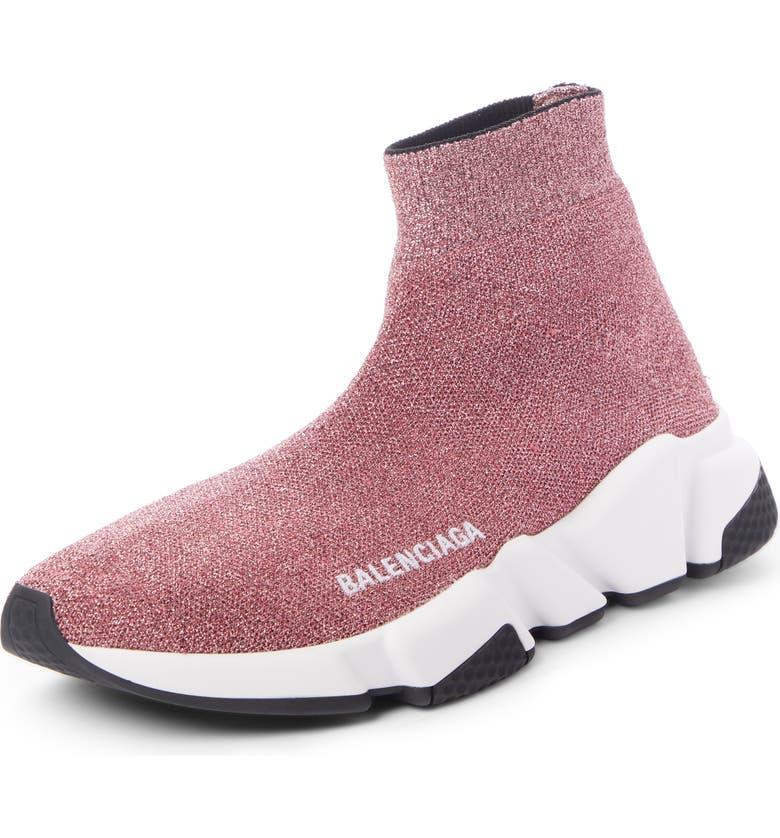 BALENCIAGA Mid Speed Metallic Sock Sneaker, Main, color, PINK/ WHITE