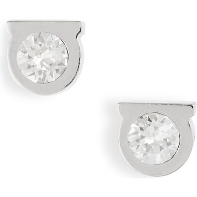 Salvatore Ferragamo Crystal Gancio Stud Earrings