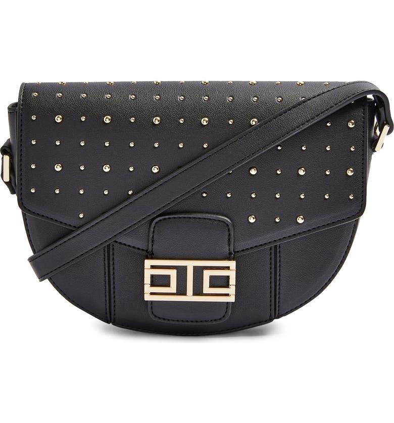 TOPSHOP Brandu Faux Leather Shoulder Bag, Main, color, 001