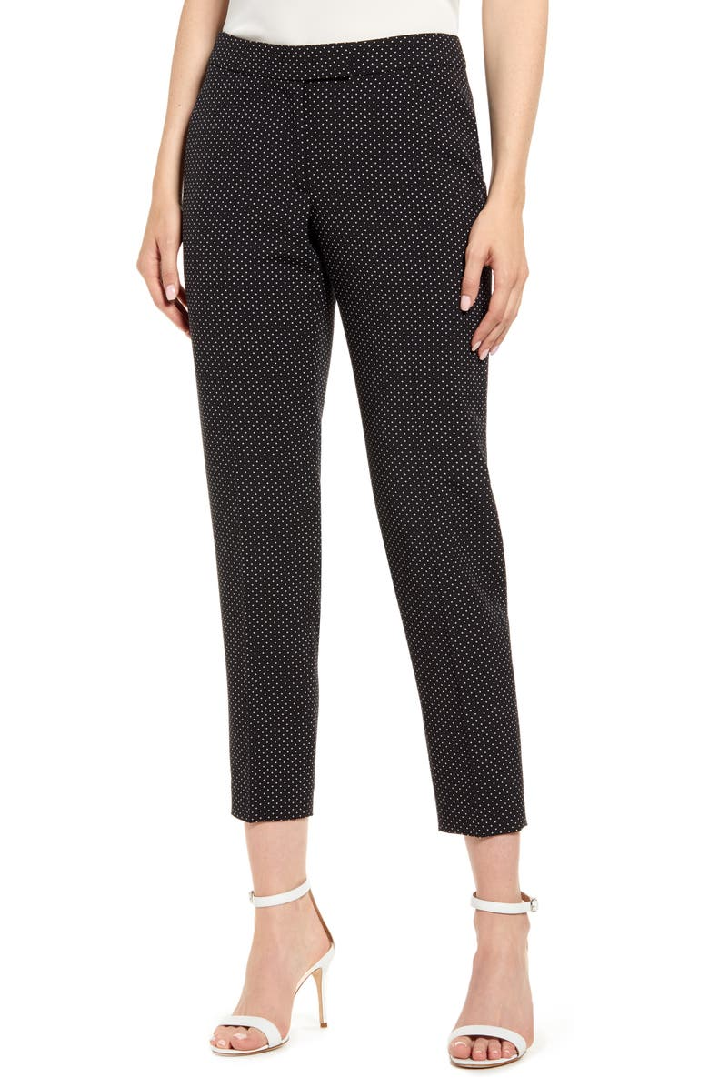 ANNE KLEIN Microdot Crepe Ankle Pants, Main, color, ANNE BLACK/ ANNE WHITE